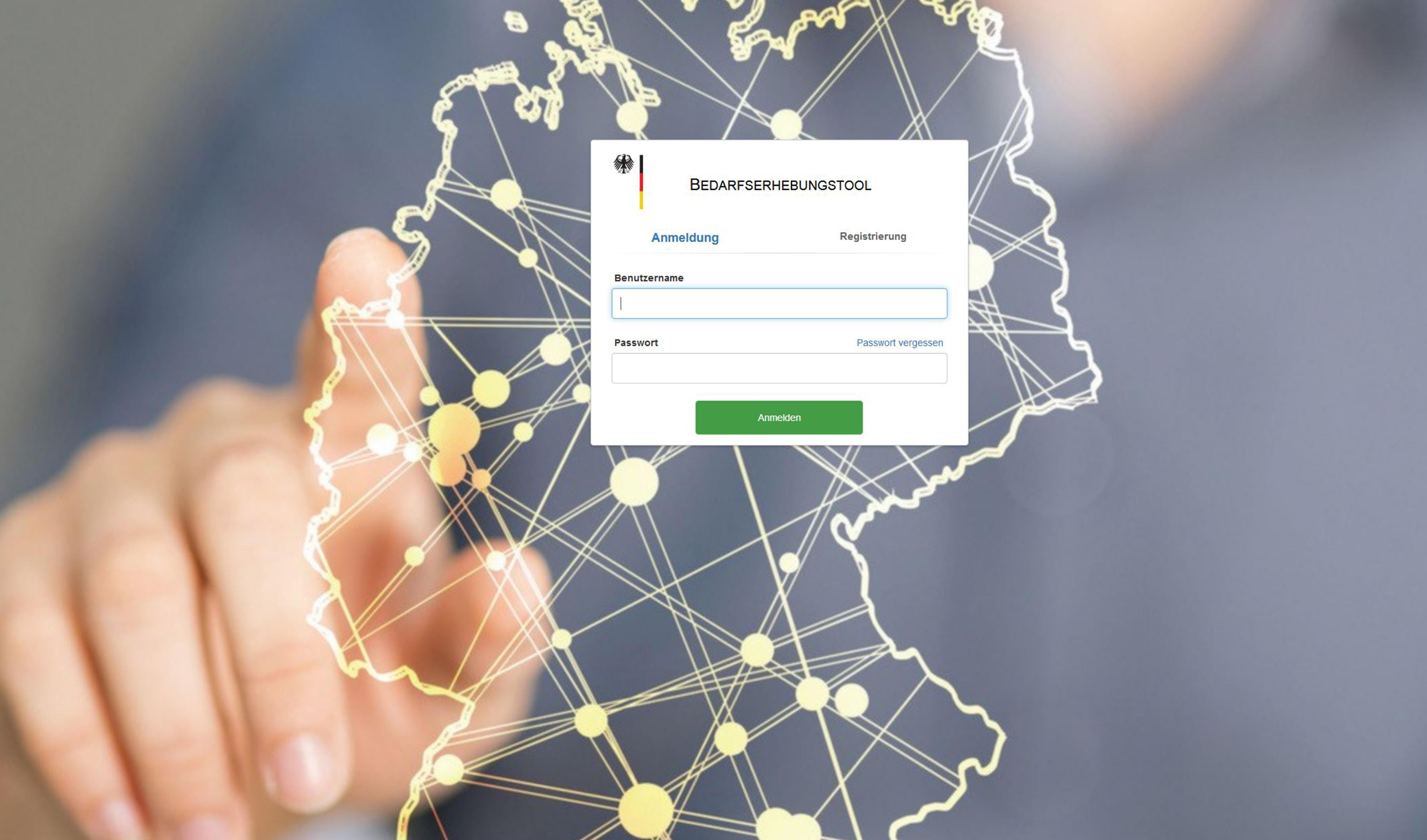 Auf einer vernetzten Deutschlandkarte wird der Login für das Bedarfserhebungstool (BET) gezeigt.