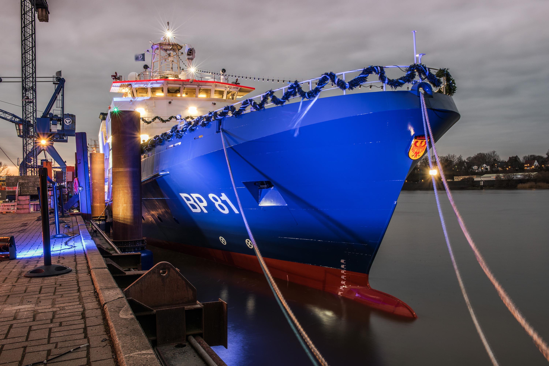 Das neue Einsatzschiff BP81 mit dem Namen Potsdam der Bundespolizei.