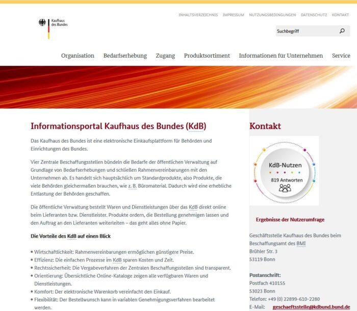 Screenshot der neuen Webseite des KdB
