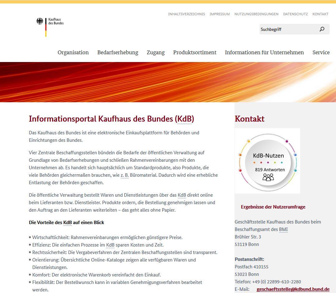 Kaufhaus des Bundes - Infoseite in neuer Optik