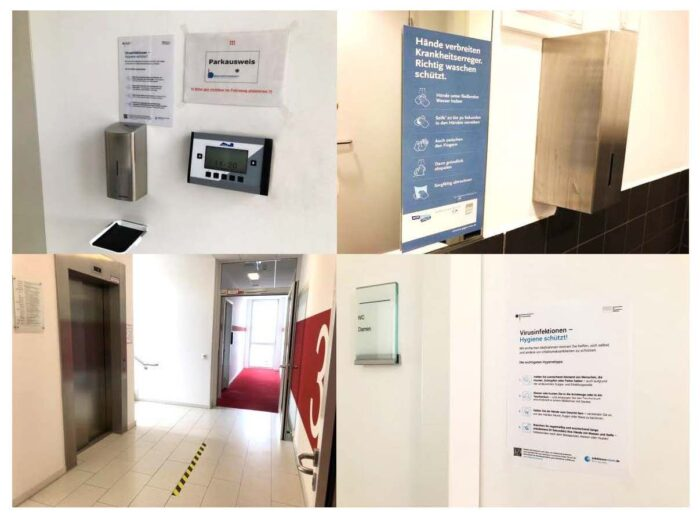 Bild: Anleitung zur Handesinfektion, Markierungen auf dem Boden, Eingangsbereich mit Desinfektionsmittelspender