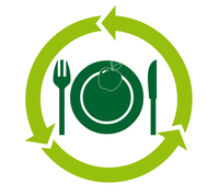 Logo der KNB mit angepasstem Inhalt: In der Mitte ist ein Gedeck, darauf ein Apfel